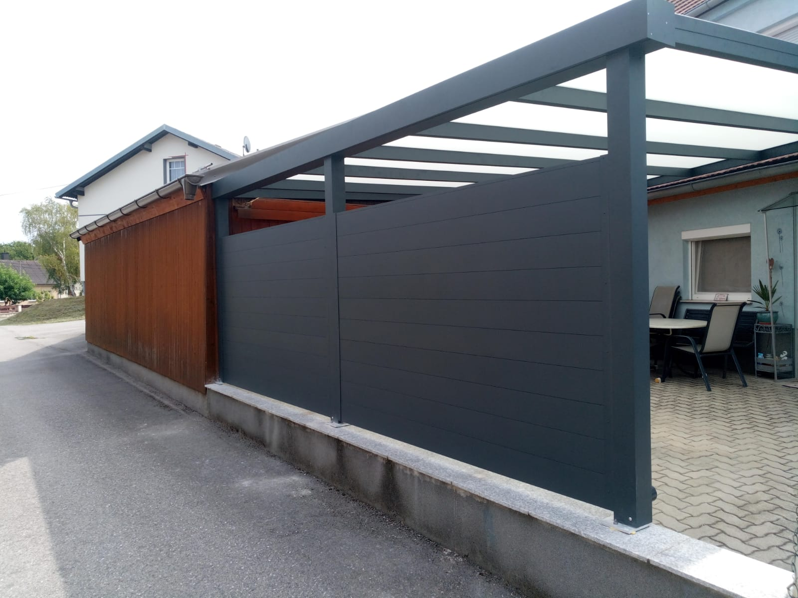 Terrassendach HEATSTOP® mit Aluwand