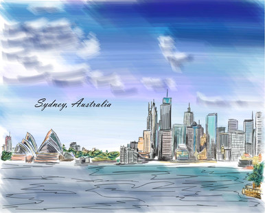 Illustration of Skyline of Sydney Australia