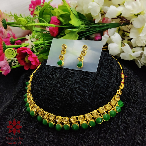 ABA - Dark Green and golden necklace Set