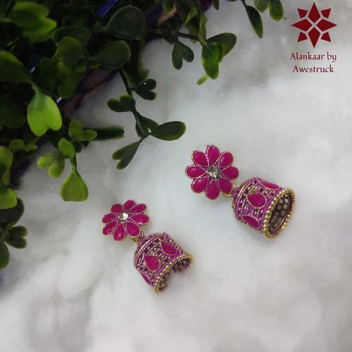 ABA – Flower & Dome Shaped Kundan Studded Jhumkas