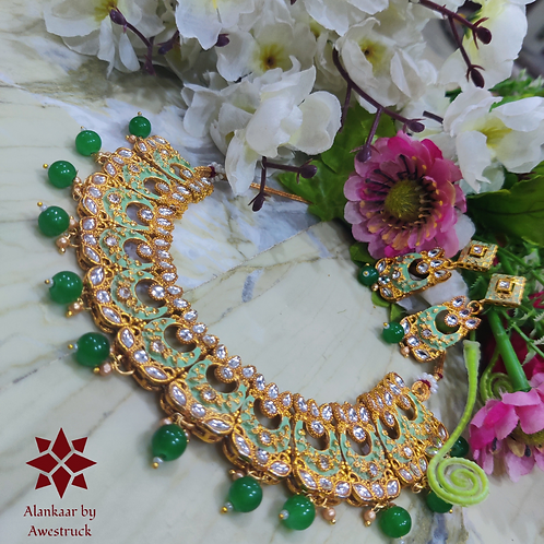 ABA - Kundan Studded Green and Gold Matte Finish Necklace Set with Earrings