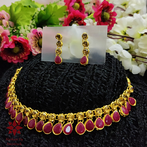 ABA - Wine Red and golden necklace Set