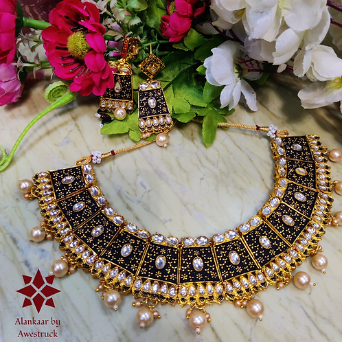 ABA - Kundan Studded Black and Gold Matte finish Necklace Set with Earrings