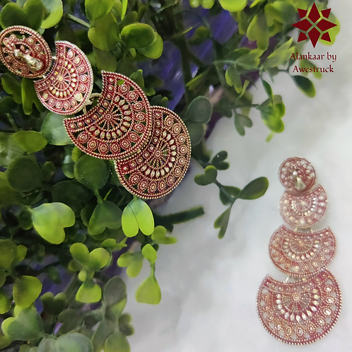 ABA – Three-layer Fan Shaped Red Color Danglers