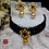 Thumbnail: ABA - Black Gold Choker Necklace with Stud Earrings