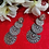 Thumbnail: ABA – Three-layer Fan Shaped Silver Color Danglers