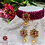 Thumbnail: ABA - Wine Red Gold Choker Necklace with Stud Earrings