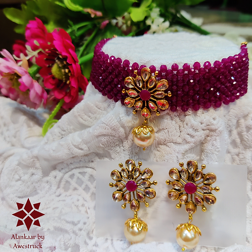 ABA - Wine Red Gold Choker Necklace with Stud Earrings