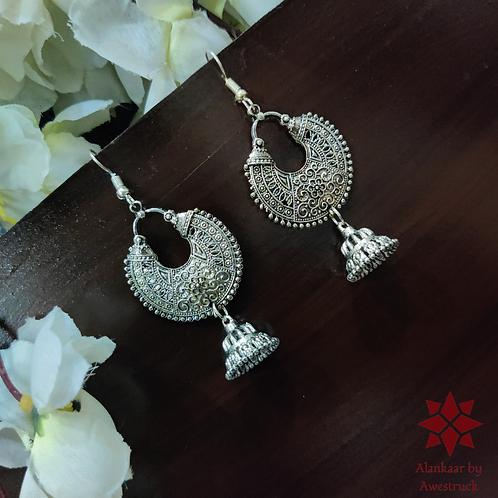 ABA - Oxidized Fan Shaped Hanging Earrings