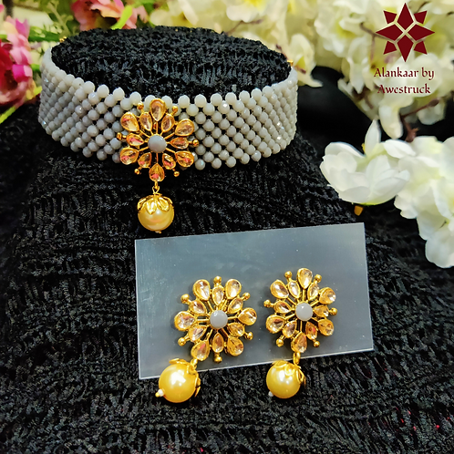 ABA - Grey Gold Choker Necklace with Stud Earrings