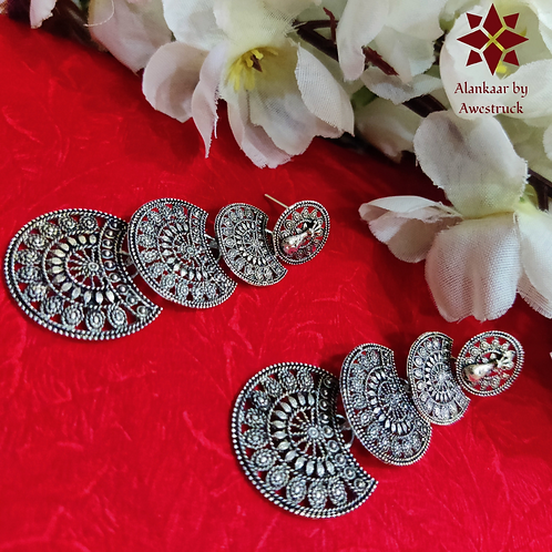 ABA – Three-layer Fan Shaped Silver Color Danglers
