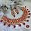 Thumbnail: ABA - Kundan Studded Red and Gold Matte Finish Necklace Set with Earrings