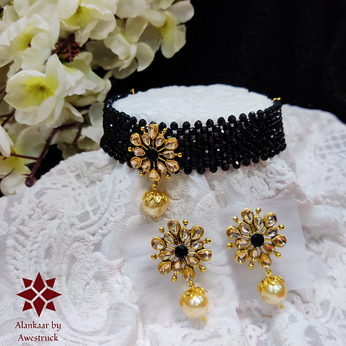 ABA - Black Gold Choker Necklace with Stud Earrings