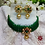 Thumbnail: ABA - Green Gold Choker Necklace with Stud Earrings