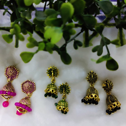ABA - Metallic Jhumki Pack of 3