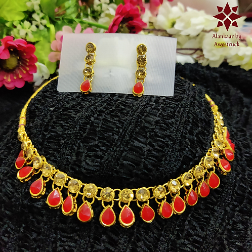 ABA - Red and golden necklace Set