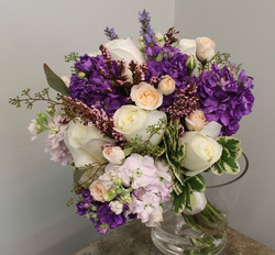 mixed whites and purple bouquet