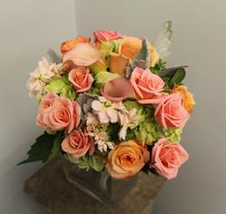 Green peach and orange bouquet