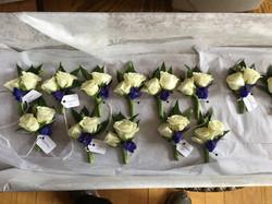 spray roses with delphinium