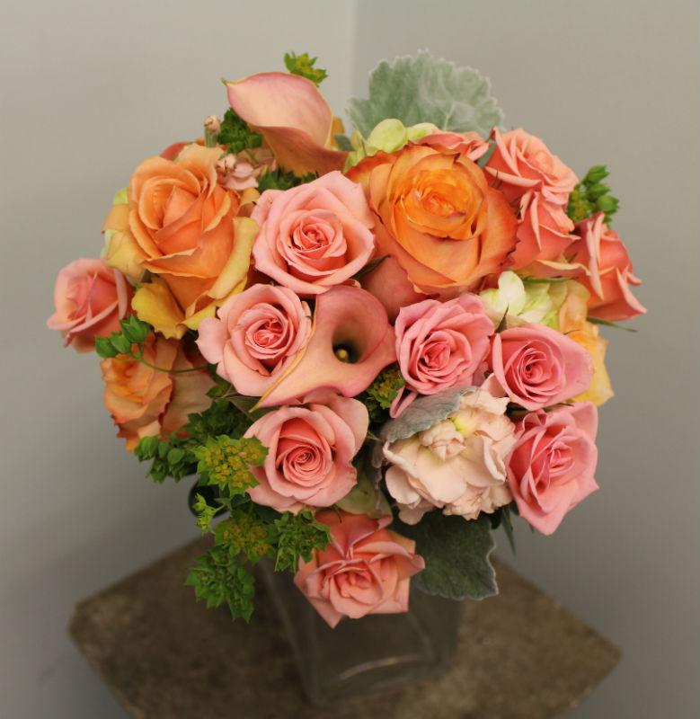 bright peach and orange bouquet