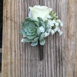 succulent rose and baby's breath
