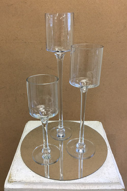 Round Mirror and Candle Goblets