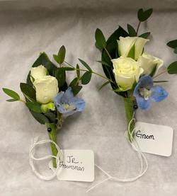 spray rose and delphinium
