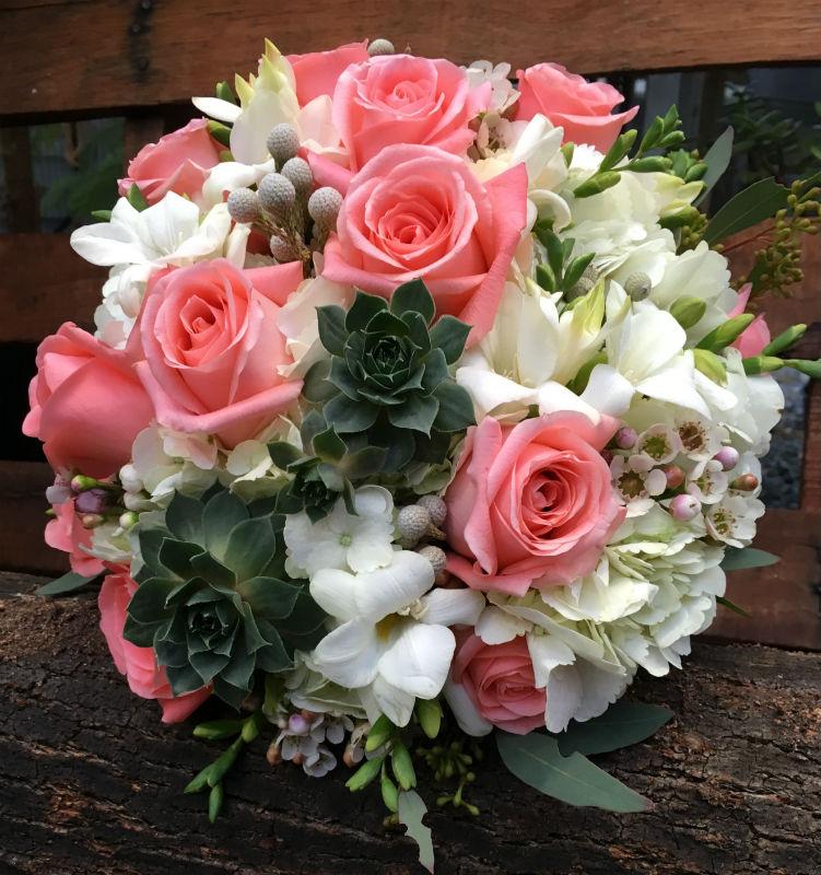 roses, freesia, hydrangea, succulent