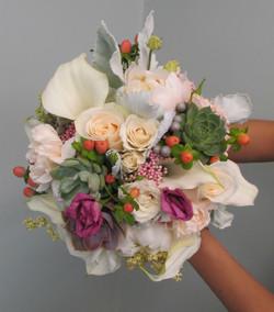 white cream succulent bouquet