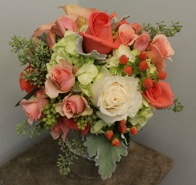 coral peach cream green bouquet