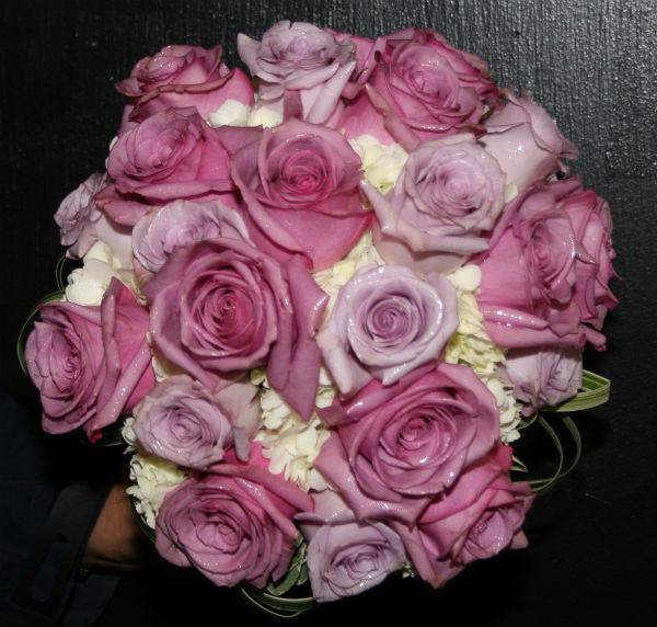 Mixed Purple Roses and Hydrangea