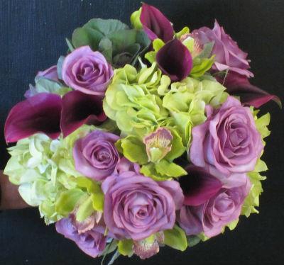 roses, hydrangea, calla lily bouquet