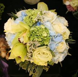 Blue white and green bouquet