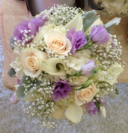 mixed white with purple bouquet