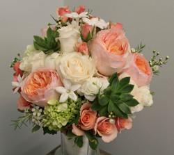 Cream peach green bouquet