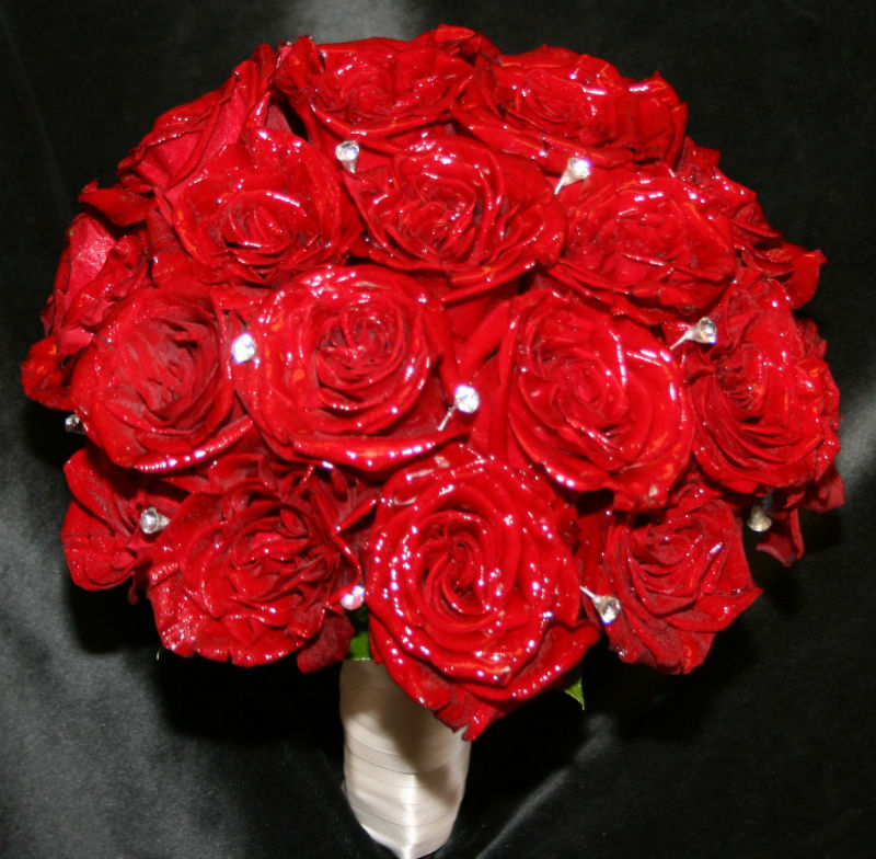 Red Roses With Rhinestones