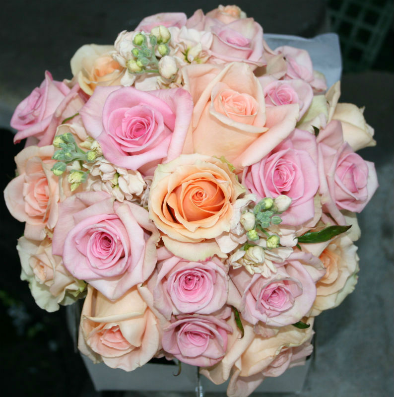 soft pink and peach rose bouquet