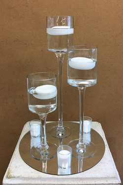 Mirror Goblets with Candles Votives