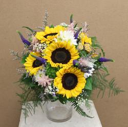 sunflower garden greenery bouqeut