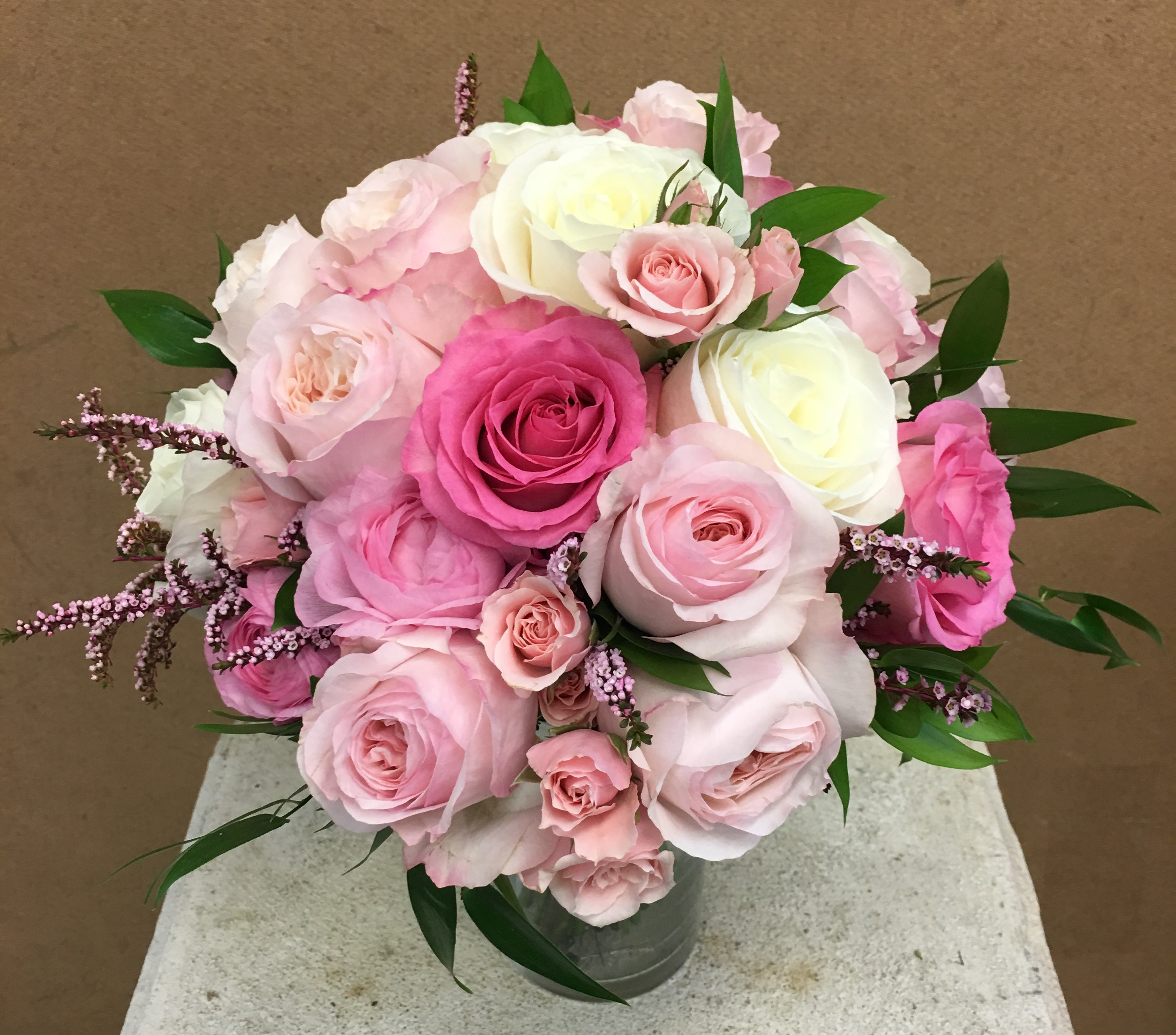 shades of pink roses bouquet