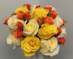 cream yellow and orange rose bouquet