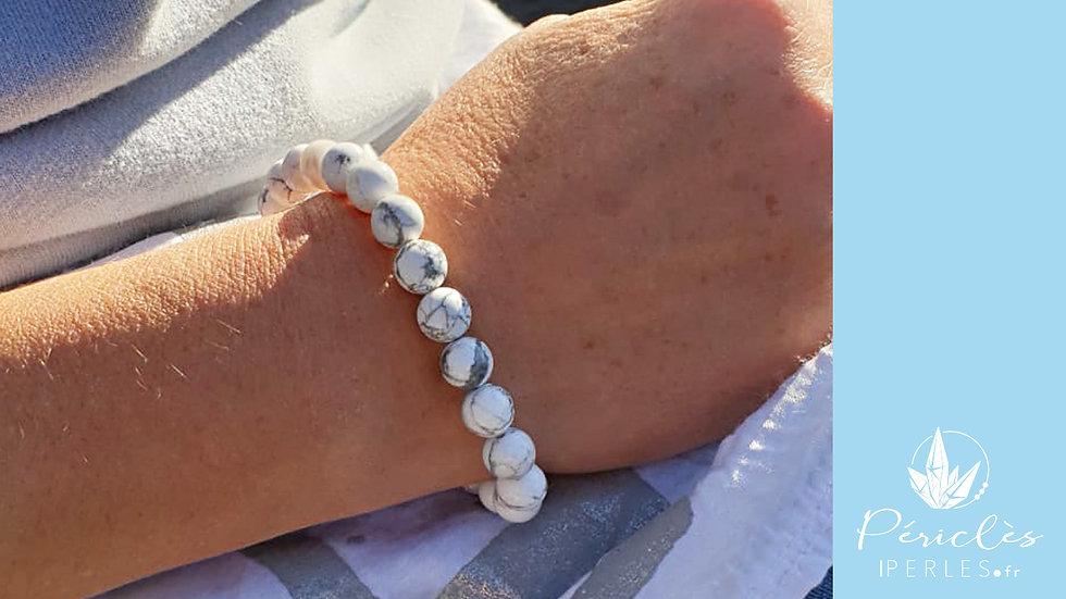 Bracelet Magnésite (Howlite) • 8 mm - perles rondes