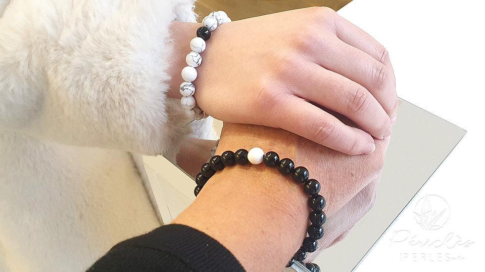 Bracelets Harmonie Onyx et Magnésite • 8 mm - perles rondes