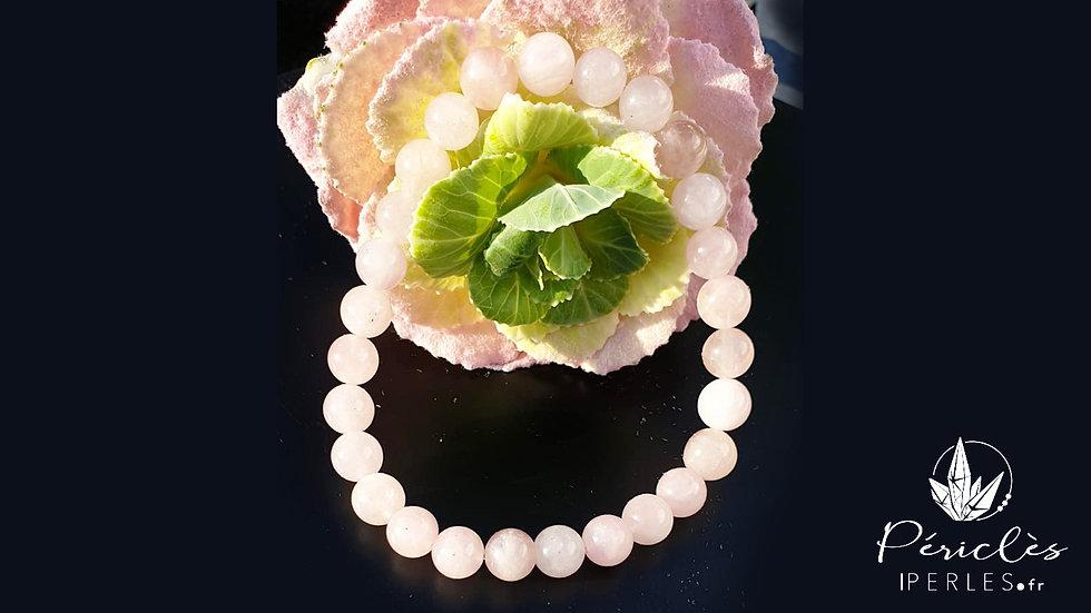 Bracelet Quartz Rose • 8 mm - perles rondes