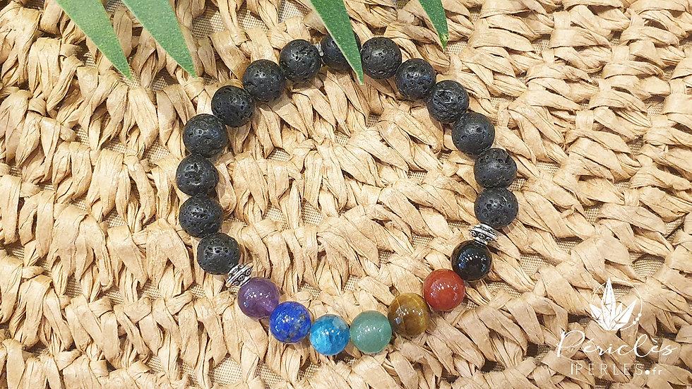 Bracelet 7 chakras et Pierre de Lave • 8 mm - perles rondes