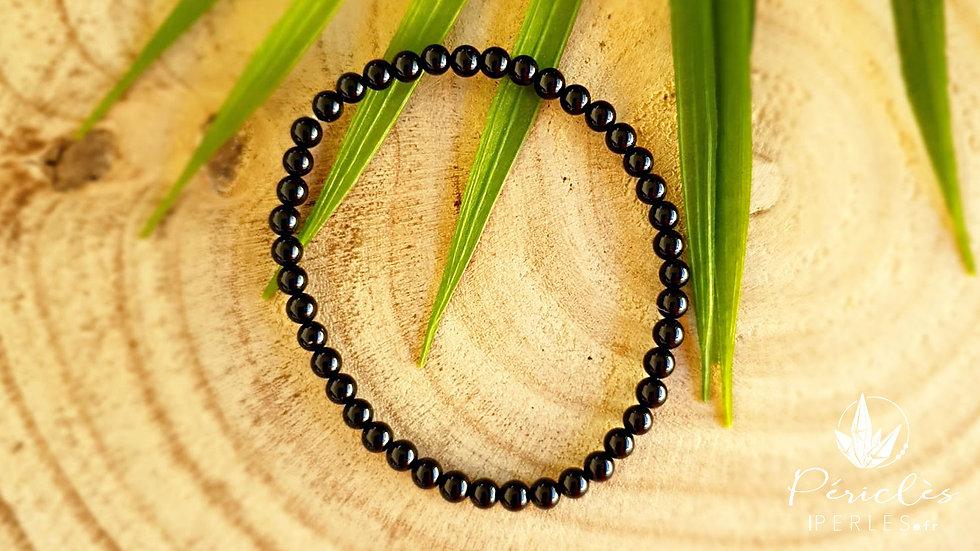 Bracelet Onyx qualité A • 4 mm - perles rondes