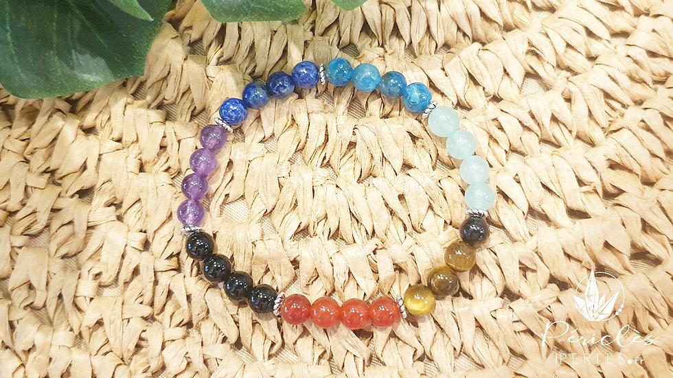 Bracelet 7 chakras • 6 mm - perles rondes