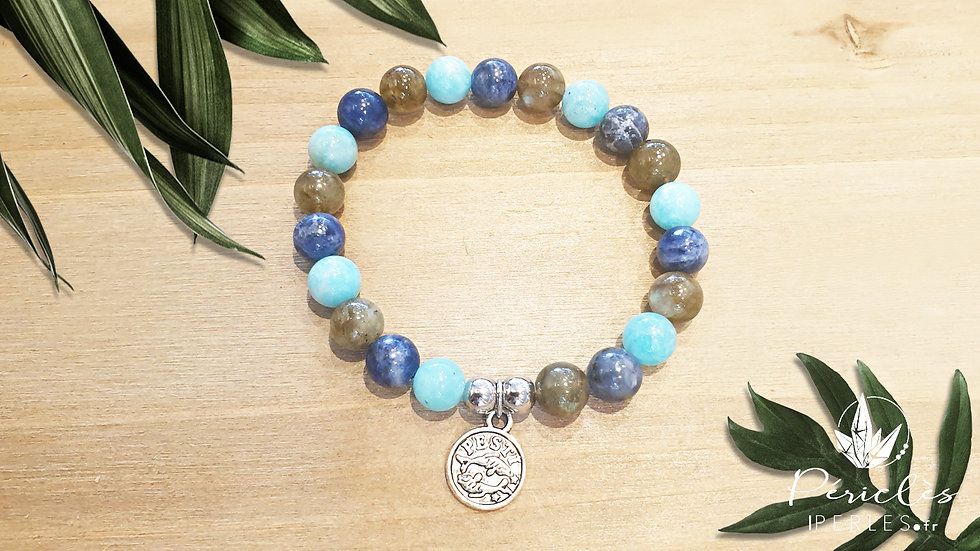 Bracelet Zodiaque POISSONS • 8 mm - perles rondes