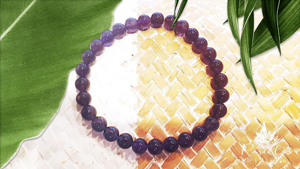 Bracelet Améthyste qualité A+ • 6 mm - perles rondes