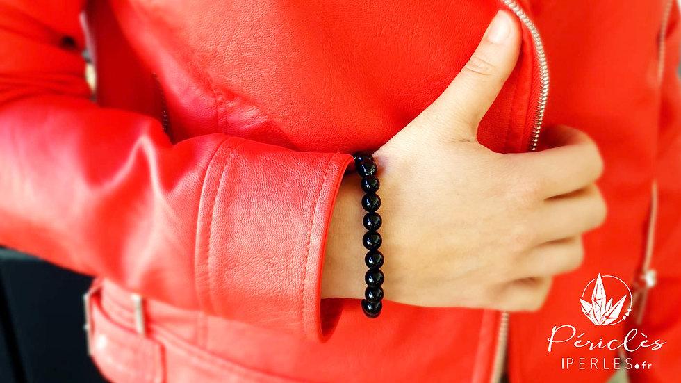 Bracelet Tourmaline Noire qualité AA • 8 mm - Perles rondes